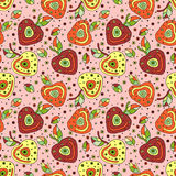 Seamless vector hand drawn childish pattern with fruits. Cute childlike cherry with leaves, seeds, drops. Doodle, sketch,  Royalty Free Stock Photos