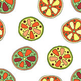 Seamless vector hand drawn childish pattern with fruits. Cute childlike lime, lemon, orange, grapefruit with leaves, seeds, drops. Stock Photos