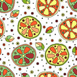 Seamless vector hand drawn childish pattern with fruits. Cute childlike lime, lemon, orange, grapefruit with leaves, seeds, drops. Royalty Free Stock Image