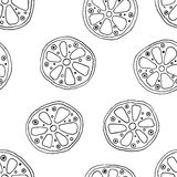 Seamless vector hand drawn childish pattern with fruits. Cute childlike lime, lemon, orange, grapefruit with leaves, seeds, drops. Royalty Free Stock Photography