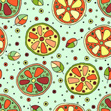 Seamless vector hand drawn childish pattern with fruits. Cute childlike lime, lemon, orange, grapefruit with leaves, seeds, drops. Royalty Free Stock Photos