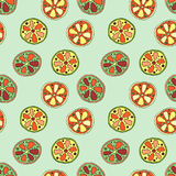 Seamless vector hand drawn childish pattern with fruits. Cute childlike lime, lemon, orange, grapefruit with leaves, seeds, drops. Stock Photography