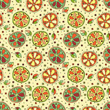Seamless vector hand drawn childish pattern with fruits. Cute childlike lime, lemon, orange, grapefruit with leaves, seeds, drops. Stock Photo
