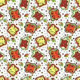 Seamless vector hand drawn childish pattern with fruits. Cute childlike pomegranate with leaves, seeds, drops. Doodle, sketch, car Stock Photos