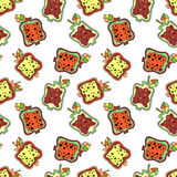 Seamless vector hand drawn childish pattern with fruits. Cute childlike pomegranate with leaves, seeds, drops. Doodle, sketch, car Stock Photography
