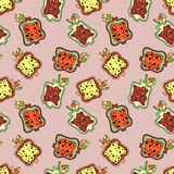 Seamless vector hand drawn childish pattern with fruits. Cute childlike pomegranate with leaves, seeds, drops. Doodle, sketch, car Stock Photo