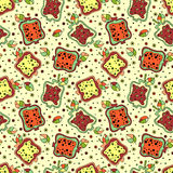 Seamless vector hand drawn childish pattern with fruits. Cute childlike pomegranate with leaves, seeds, drops. Doodle, sketch, car Royalty Free Stock Photos