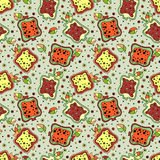 Seamless vector hand drawn childish pattern with fruits. Cute childlike pomegranate with leaves, seeds, drops. Doodle, sketch, car. Toon style background. Line Royalty Free Stock Photos