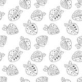 Seamless vector hand drawn childish pattern with fruits. Cute childlike strawberries with leaves, seeds, drops. Doodle, sketch, ca Stock Image