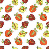 Seamless vector hand drawn childish pattern with fruits. Cute childlike strawberries with leaves, seeds, drops. Doodle, sketch, ca Royalty Free Stock Image