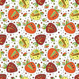 Seamless vector hand drawn childish pattern with fruits. Cute childlike strawberries with leaves, seeds, drops. Doodle, sketch, ca Royalty Free Stock Photo