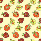 Seamless vector hand drawn childish pattern with fruits. Cute childlike strawberries with leaves, seeds, drops. Doodle, sketch, ca Stock Images