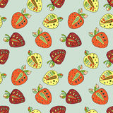 Seamless vector hand drawn childish pattern with fruits. Cute childlike strawberries with leaves, seeds, drops. Doodle, sketch, ca. Rtoon style background. Line Stock Photo