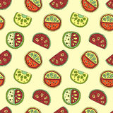 Seamless vector hand drawn childish pattern with fruits. Cute childlike watermelon with leaves, seeds, drops. Doodle, sketch, cart Royalty Free Stock Images