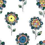 Seamless vector hand drawn doodle childlike floral pattern. Background with childish flowers, leaves. Decorative cute graphic line Stock Images
