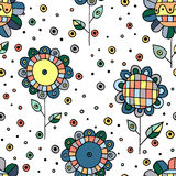 Seamless vector hand drawn doodle childlike floral pattern. Background with childish flowers, leaves. Decorative cute graphic line Royalty Free Stock Photo