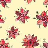 Seamless vector hand drawn doodle childlike floral pattern. Background with childish flowers, leaves. Decorative cute graphic line Royalty Free Stock Images