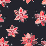 Seamless vector hand drawn doodle childlike floral pattern. Background with childish flowers, leaves. Decorative cute graphic line Stock Photo