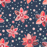 Seamless vector hand drawn doodle childlike floral pattern. Background with childish flowers, leaves. Decorative cute graphic line Royalty Free Stock Photos