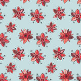 Seamless vector hand drawn doodle childlike floral pattern.  Royalty Free Stock Photos