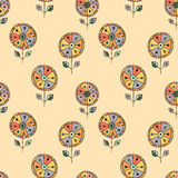 Seamless vector hand drawn doodle childlike floral pattern.   Stock Photos