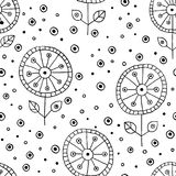 Seamless vector hand drawn doodle childlike floral pattern. Background with childish flowers, leaves. Decorative cute graphic line Stock Photos