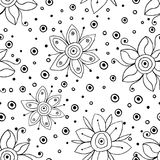 Seamless vector hand drawn doodle childlike floral pattern. Background with childish flowers, leaves. Decorative cute graphic line Royalty Free Stock Image
