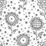 Seamless vector hand drawn doodle childlike floral pattern. Background with childish flowers, leaves. Decorative cute graphic line Stock Photography