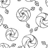 Seamless vector hand drawn doodle childlike floral pattern. Background with childish flowers, leaves. Decorative cute graphic line Stock Image