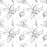 Seamless vector hand drawn doodle childlike floral pattern with butterfly. Background with flowers, leaves, dots. Decorative cute Royalty Free Stock Photos