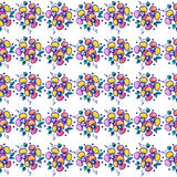 Seamless vector hand drawn floral pattern. Colorful Background with flowers, leaves. Decorative cute graphic line drawing illustra Royalty Free Stock Images