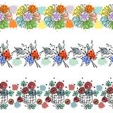 Seamless vector hand drawn floral pattern, endless border Colorful frame with flowers, leaves, butterfly. Decorative cute graphic Stock Photography