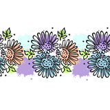 Seamless vector hand drawn floral pattern, endless border Colorful frame with flowers, leaves. Decorative cute graphic line drawin Stock Photos