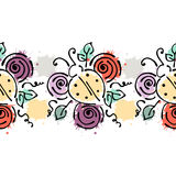 Seamless vector hand drawn floral pattern, endless border Colorful frame with flowers, leaves. Decorative cute graphic line drawin Royalty Free Stock Photography