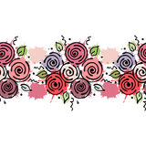 Seamless vector hand drawn floral pattern, endless border Colorful frame with flowers, leaves. Decorative cute graphic line drawin. G illustration. Print for Royalty Free Stock Images
