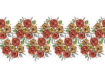 Seamless vector hand drawn floral pattern, endless border Colorful frame with flowers, leaves. Decorative cute graphic line drawin. G illustration. Print for Stock Photography