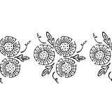 Seamless vector hand drawn floral pattern, endless border frame with flowers, leaves. Decorative cute graphic line drawing illustr. Ation. Print for wrapping Royalty Free Stock Photo
