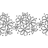 Seamless vector hand drawn floral pattern, endless border frame with flowers, leaves. Decorative cute graphic line drawing illustr. Ation. Print for wrapping Stock Photo