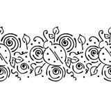 Seamless vector hand drawn floral pattern, endless border frame with flowers, leaves. Decorative cute graphic line drawing illustr. Ation. Print for wrapping Royalty Free Stock Photos