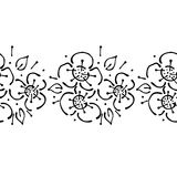 Seamless vector hand drawn floral pattern, endless border frame with flowers, leaves. Decorative cute graphic line drawing illustr Stock Photography