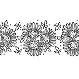 Seamless vector hand drawn floral pattern, endless border frame with flowers, leaves. Decorative cute graphic line drawing illustr Royalty Free Stock Photo