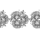 Seamless vector hand drawn floral pattern, endless border frame with flowers, leaves. Decorative cute graphic line drawing illustr Royalty Free Stock Photography
