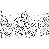 Seamless vector hand drawn fruits pattern, endless border frame with strawberry. Decorative cute graphic line drawing illustration Royalty Free Stock Image