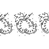Seamless vector hand drawn fruits pattern, endless border frame with watermelon. Decorative cute graphic line drawing illustration Stock Photography