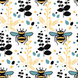 Seamless vector hand drawn pattern with bees leaves and honeycombs. Seamless vector hand drawn colorful pattern with bees leaves and honeycombs Royalty Free Stock Photo