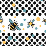 Seamless vector hand drawn pattern with bees leaves and honeycombs. Seamless vector hand drawn colorful pattern with bees leaves and honeycombs Stock Image