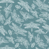Seamless vector hand drawn pattern with fantasy butterflies, dragonflies, beetles, bugs and mothes. Seamless vector hand drawn pattern with fantasy butterflies Royalty Free Stock Photography