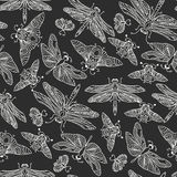 Seamless vector hand drawn pattern with fantasy butterflies, dragonflies, beetles, bugs and mothes. Royalty Free Stock Images