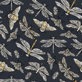 Seamless vector hand drawn pattern with fantasy butterflies, dragonflies, beetles, bugs and mothes. Seamless vector hand drawn pattern with fantasy butterflies Royalty Free Stock Images