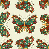 Seamless vector hand drawn pattern with fantasy butterflies in modern style. Royalty Free Stock Image